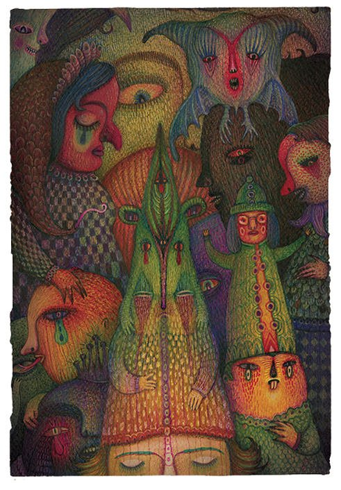 A psychological drawing by Vladimir Stankovic of faces, people and fantasy creatures