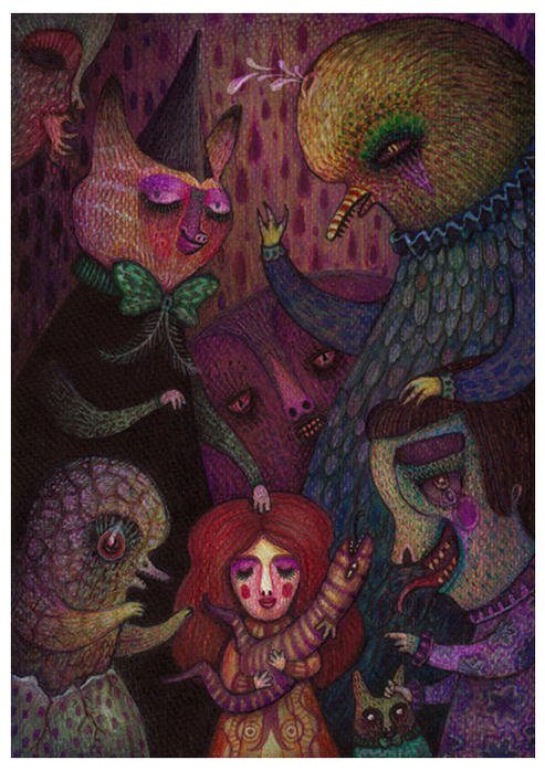 A psychological drawing by Vladimir Stankovic of fantasy creatures and surreal people