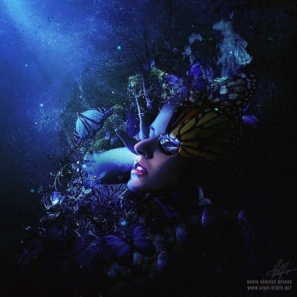 A surreal photoshop painting by Mario S. Nevado of a fantasy butterfly goddess