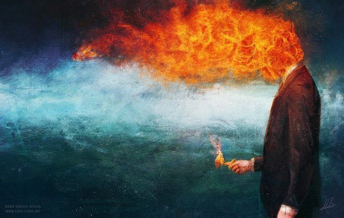A surreal photoshop painting by Mario S. Nevado of a man whose head is on fire