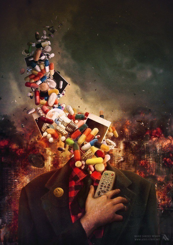 A surreal photoshop painting by Mario S. Nevado of a man with pills for a head holding a TV remote
