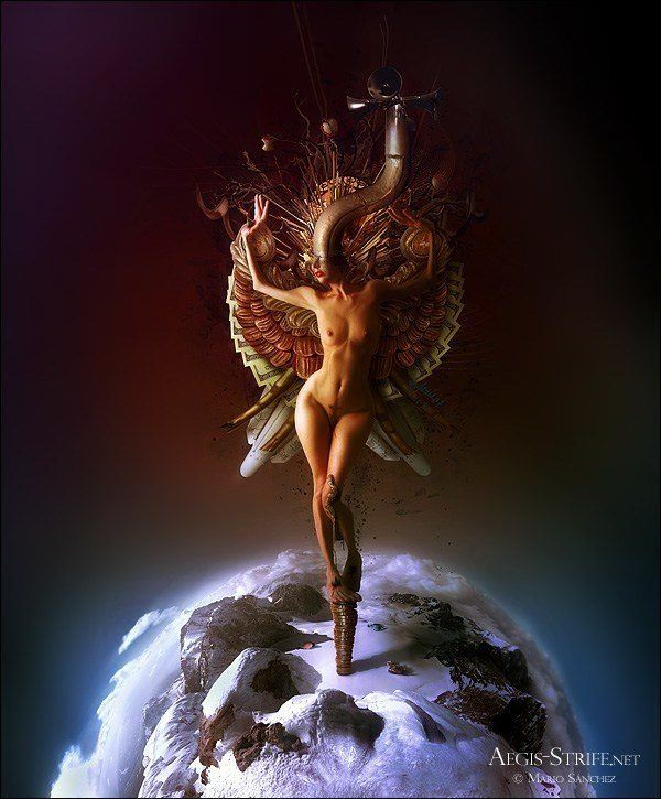A surreal photoshop painting by Mario S. Nevado of a nude angel woman standing on the earth