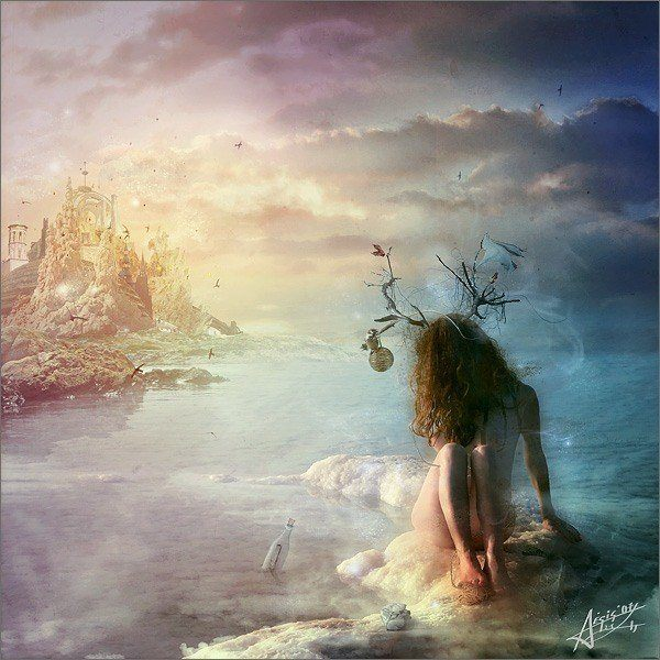 A surrealist photoshop painting by Mario Nevado of a nude fantasy goddess girl near a castle