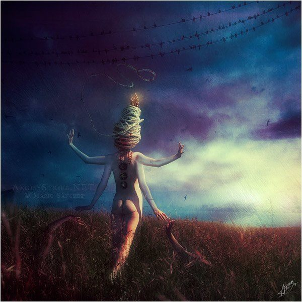 A surreal photoshop painting by Mario S. Nevado of a nude goddess with four arms walking through a field
