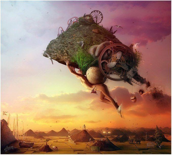 A surreal photoshop painting by Mario S. Nevado of a nude woman carrying a carnival