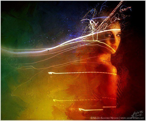 A surreal photoshop painting by Mario S. Nevado of a woman surrounded by rainbow colors and light streaks
