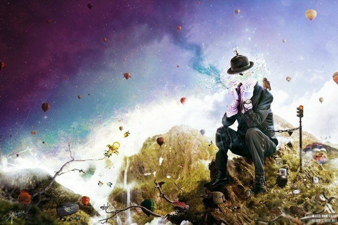 A surreal photoshop painting by Mario S. Nevado of an invisible man in a suit surrounded by hot air balloons