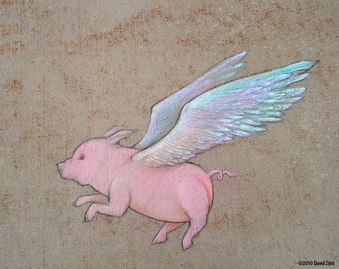 A visual pun graffiti art work drawn in chalk by Dvaid Zinn called Swine Flew
