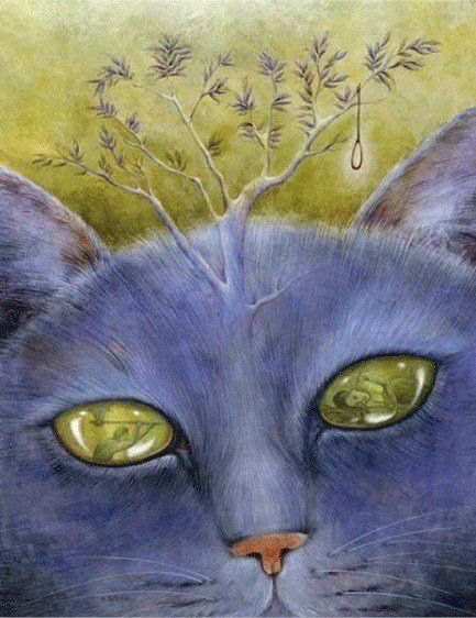 An acrylic on canvas painting of a blue cat with a tree on its head by artist Solongo Monkhooroi