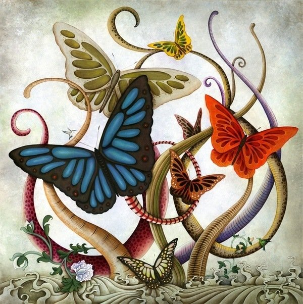 An acrylic on canvas painting by artist Solongo Monkhooroi of giant butterflies and tentacles