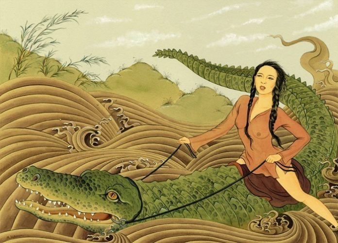 An acrylic on canvas painting of a sexy Japanese girl riding a giant crocodile by artist Solongo Monkhooroi