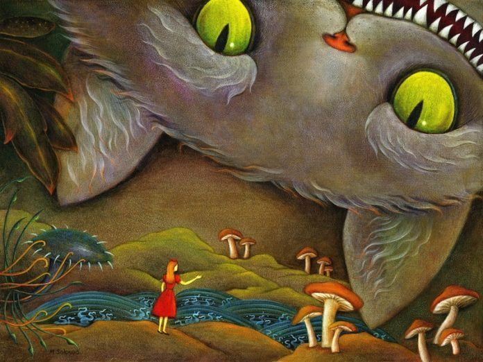 An acrylic on canvas painting of the Cheshire Cat from Alice in Wonderland by artist Solongo Monkhooroi