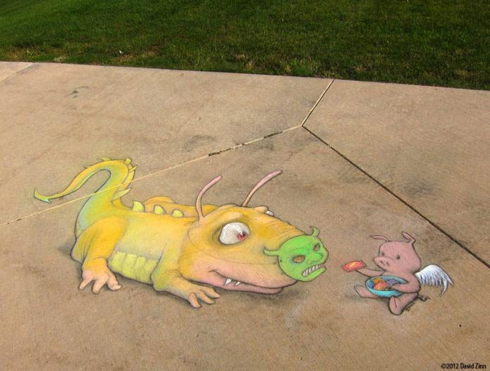 An alien trick or treats with a flying pig in this graffiti chalk drawing by David Zinn