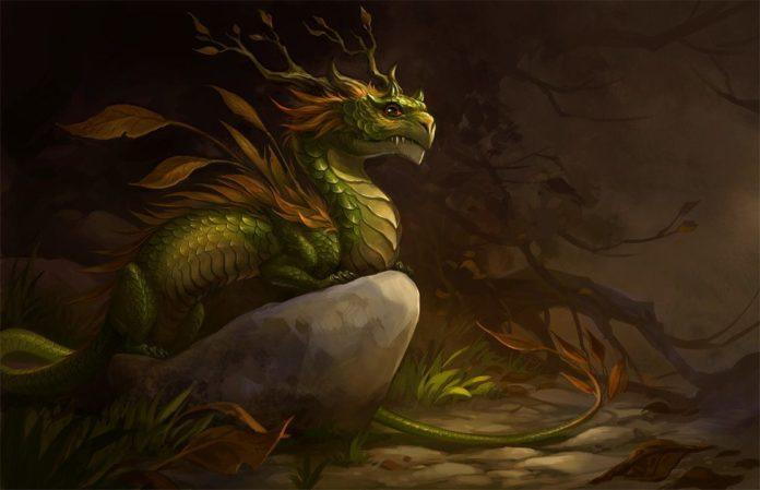 An autumn dragon digital art painting by Sandara of a cute dragon with leafy horns