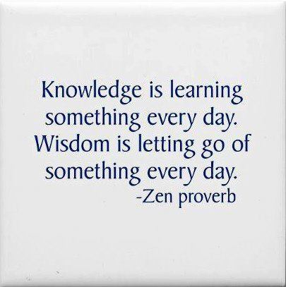 An inspirational picture quote about the difference between knowledge and wisdom