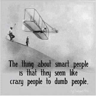 An inspirational picture quote that uses flying as an example of how dumb people think sart people are crazy