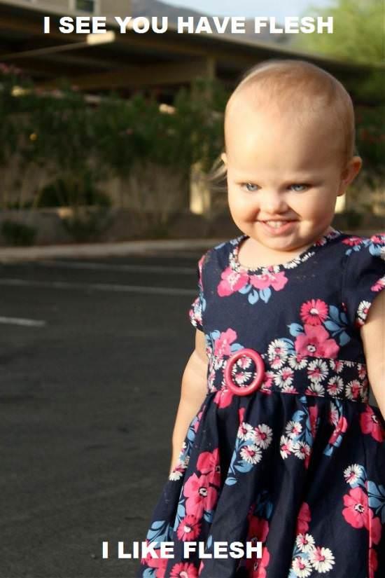 Cute little evil girl likes your flesh