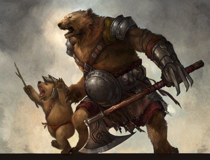 Digital fantasy painting by Sandara of a mother bear warrior and her cub in a bipedal stance
