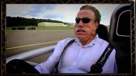 Jeremy Clarkson drives so fast that he gets a floppy windtunnel face