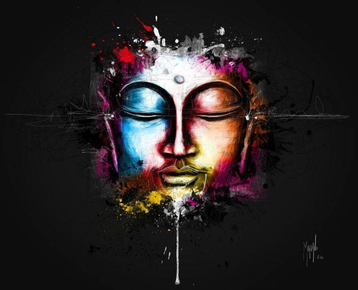 Murciano digital painting of the buddha listening to electro and trance music