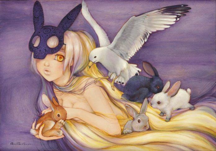 A beautiful nude girl holds a rabbit in this manga painting by Camilla Derrico
