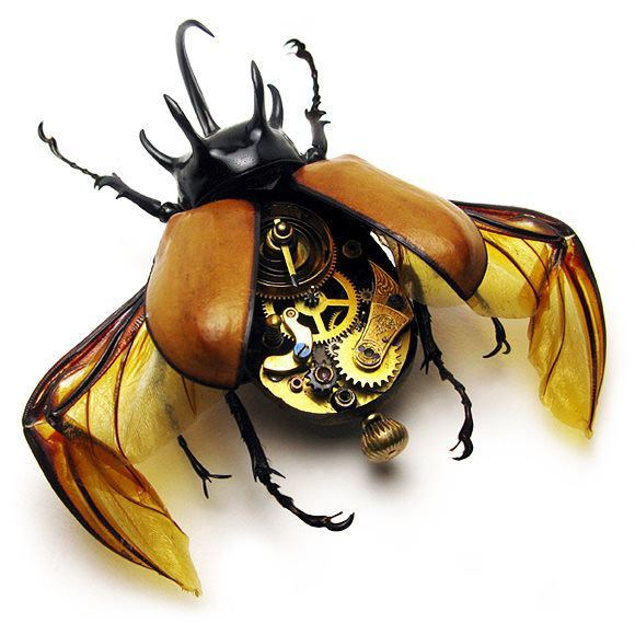 A clockwork beetle with steampunk intestines by the Insect Lab