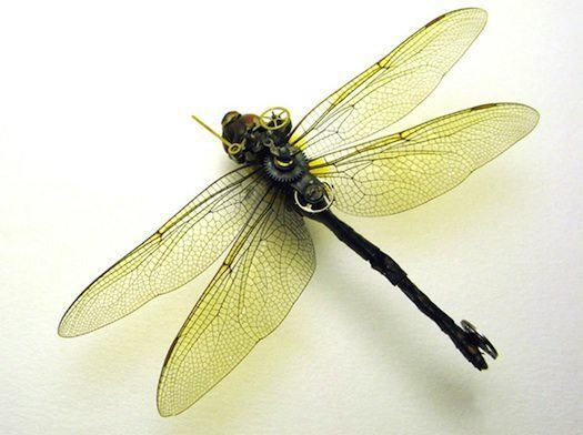 A clockwork dragonfly insect sculpture in a steampunk style by the Insect Lab