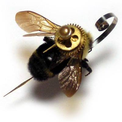 A clockwork steampunk insect sculpture of a bee by the Insect Lab