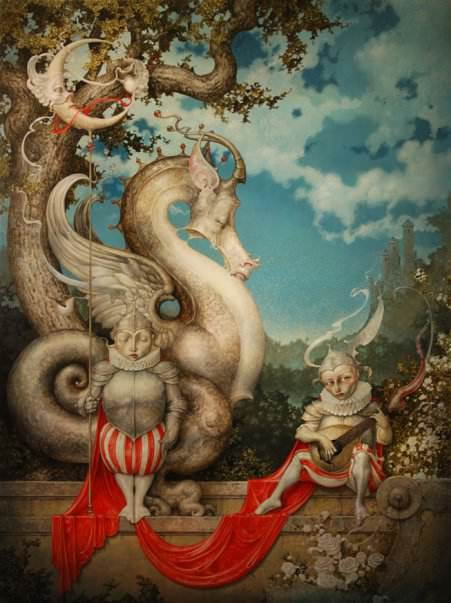 A fantasy surrealist painting by David Merriam of a dragon tree, a knight and a minstrel