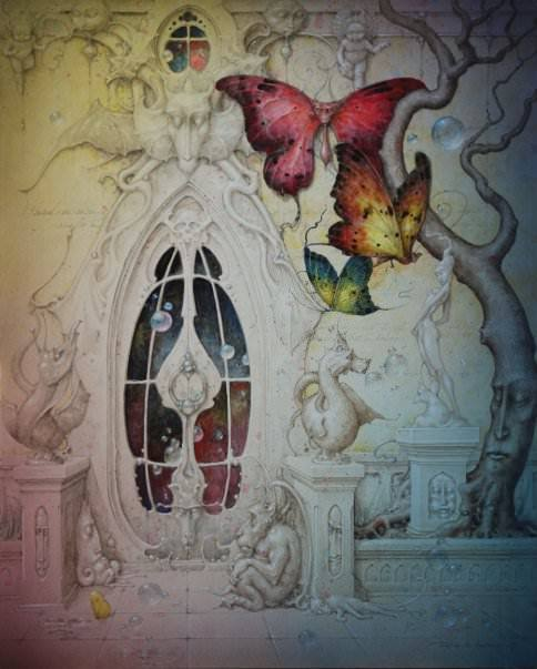 A fantasy surrealist painting by David Merriam of a fairy castle with butterflies