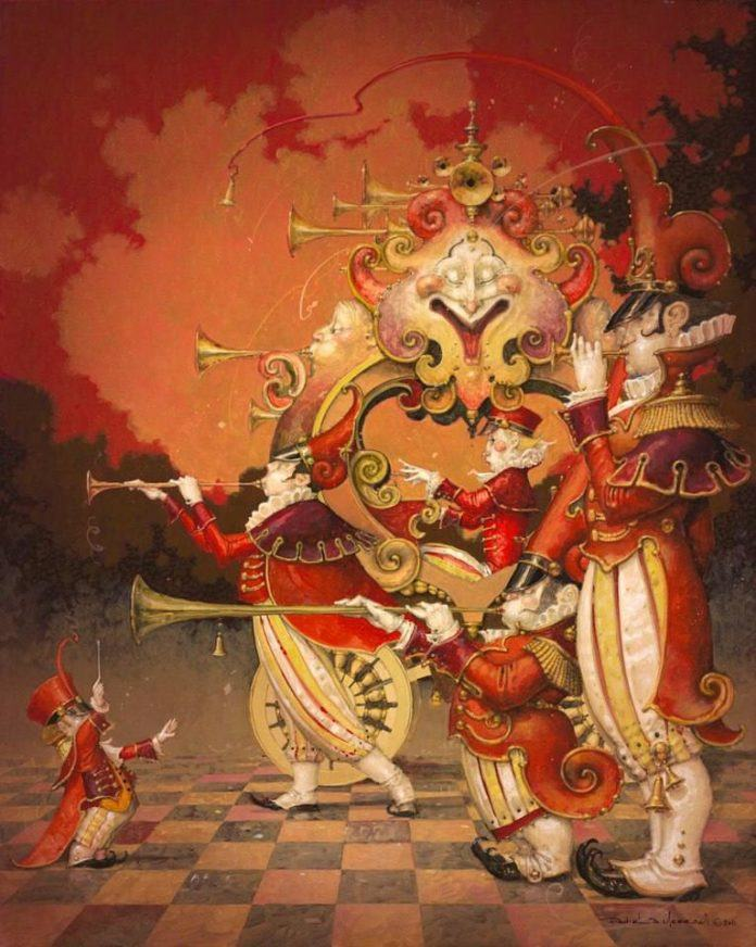 A fantasy surrealist painting by David Merriam of a fantasy marching band and conductor