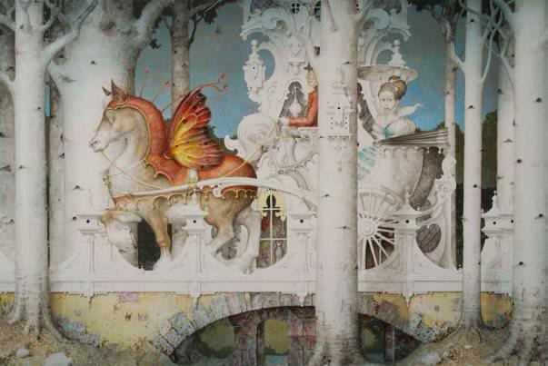 A fantasy surrealist painting by David Merriam of a horse with butterfly wings drawing a carriage