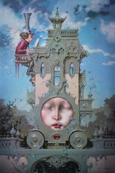 A fantasy surrealist painting by David Merriam of a house that is both a piano and a carriage