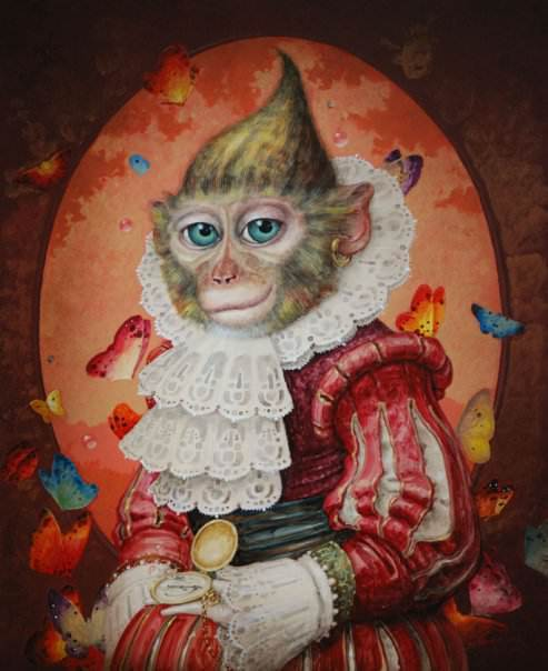 A fantasy surrealist painting by David Merriam of a monkey in a victorian dress surrounded by butterflies