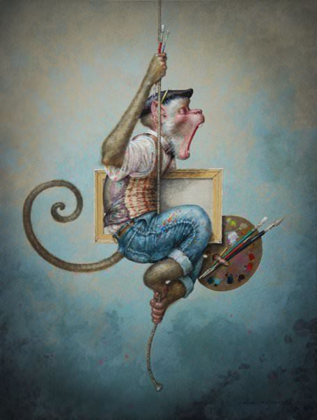A fantasy surrealist painting by David Merriam of a monkey with art supplies hanging from a rope