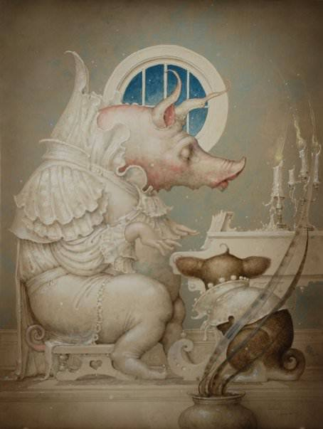 A fantasy surrealist painting by David Merriam of a pig creature playing a piano