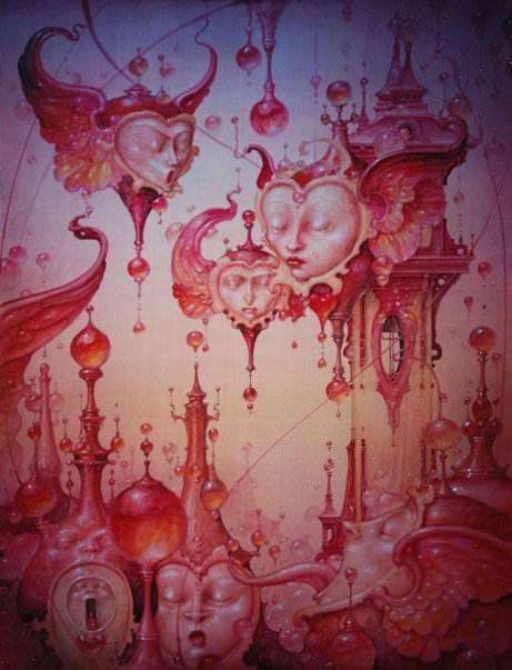 A fantasy surrealist painting by David Merriam of flying hearts, faces and a citadel