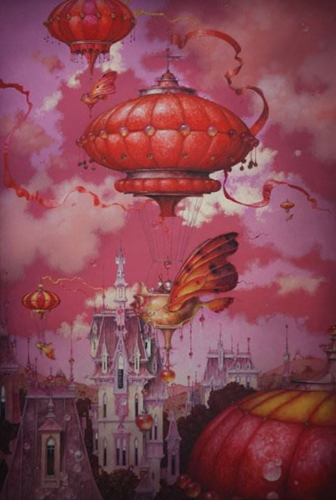 A fantasy surrealist painting by David Merriam of hot air balloons over a fantasy city
