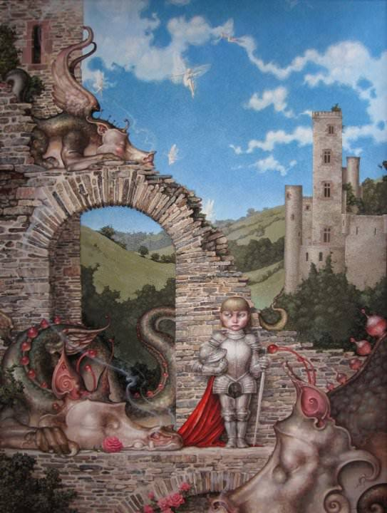 A fantasy surrealist painting by David Merriam of sleeping dragons, a castle and a knight