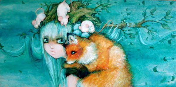 A fox and three mice cling to a girl in this stormy manga painting by Camilla Derrico