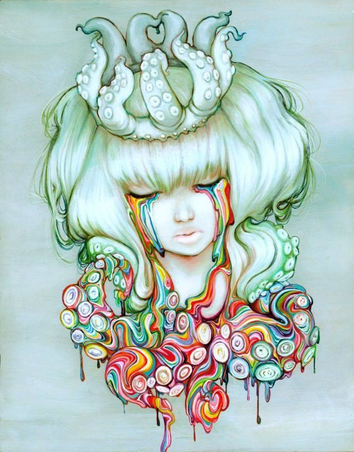 A girl cries rainbow tears while wearing an octopus crown in this manga painting by Camilla Derrico