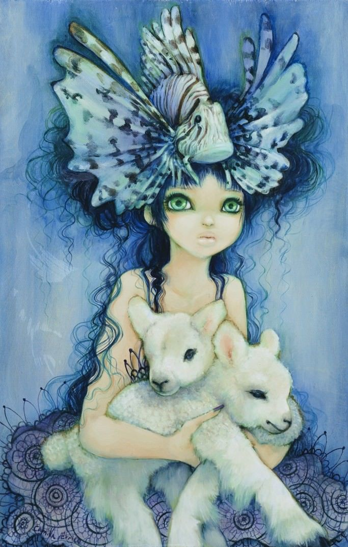 A girl with a fish hat holds two lambs in this Camilla dErrico painting