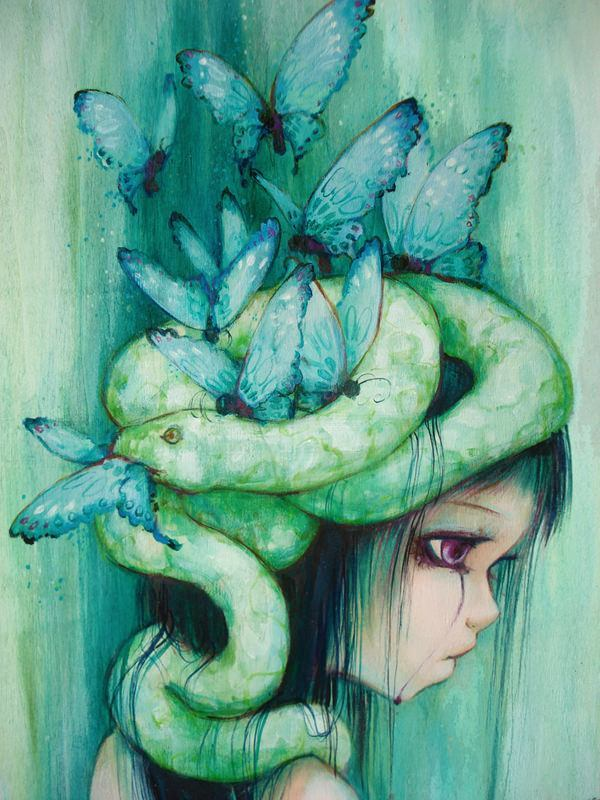 A girl with a snake and butterflies on her head cries purple tears in this Camilla Derrico painting