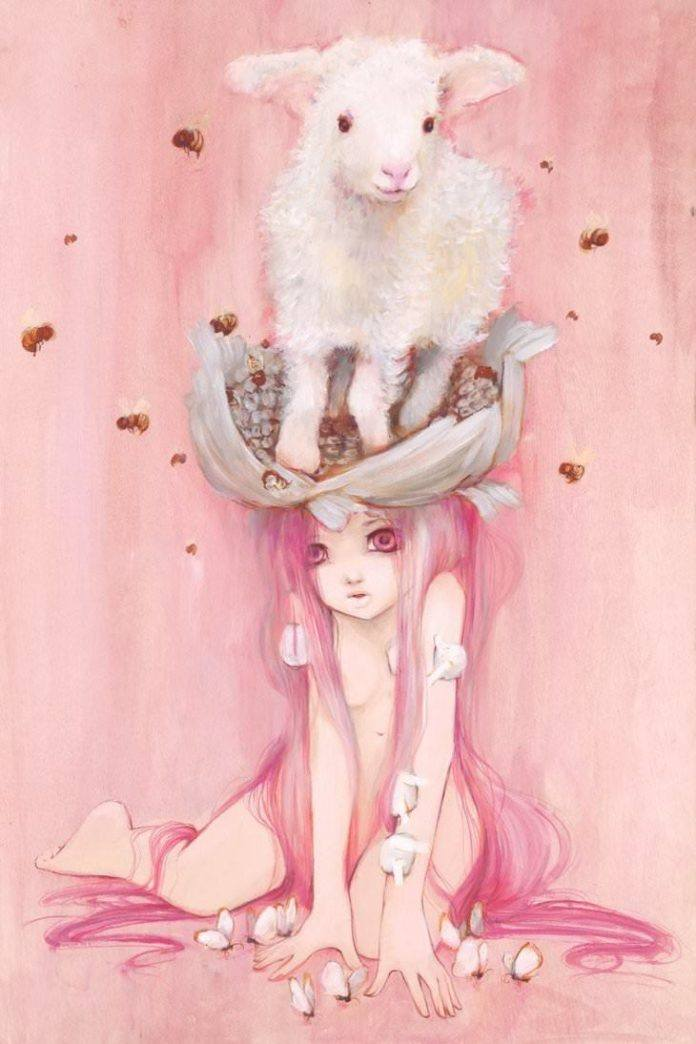 A girl with pink hair sits with a sheep on her head in this manga painting by Camilla Derrico