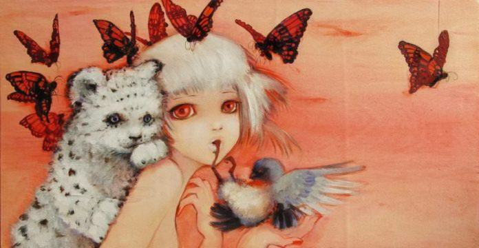 A manga girl poses with butterflies, a cub and a bird in this manga painting by Camilla Derrico