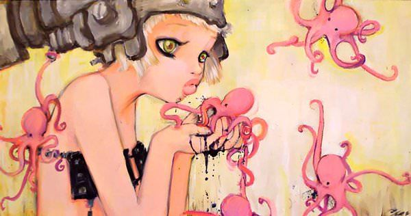 A manga painting by Camilla Derrico of a girl kissing an octopus
