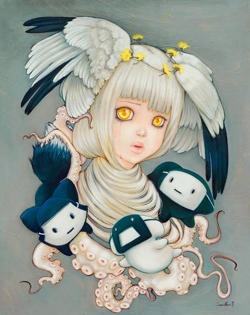 A manga painting of a girl with golden eyes and wings on her head by Camilla Derrico