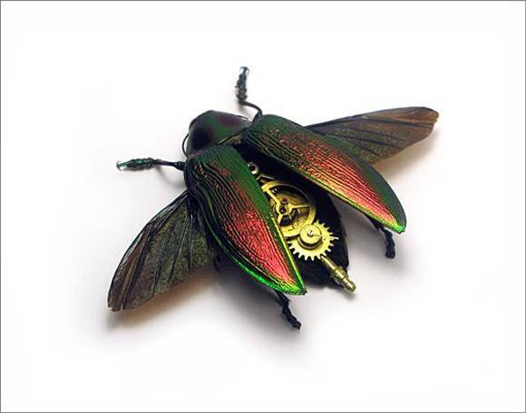 A metallic beetle sports clockwork parts in this steampunk insect sculpture by the Insect Lab