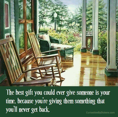 A picture quote about the value of giving your time to others