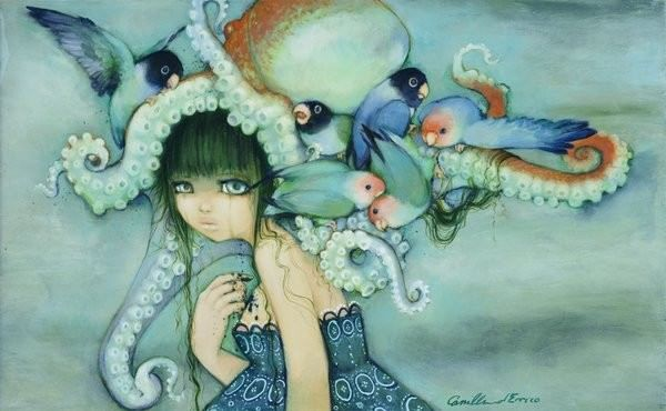 A sad girl with an octopus hat cries in this Camilla d'Errico painting